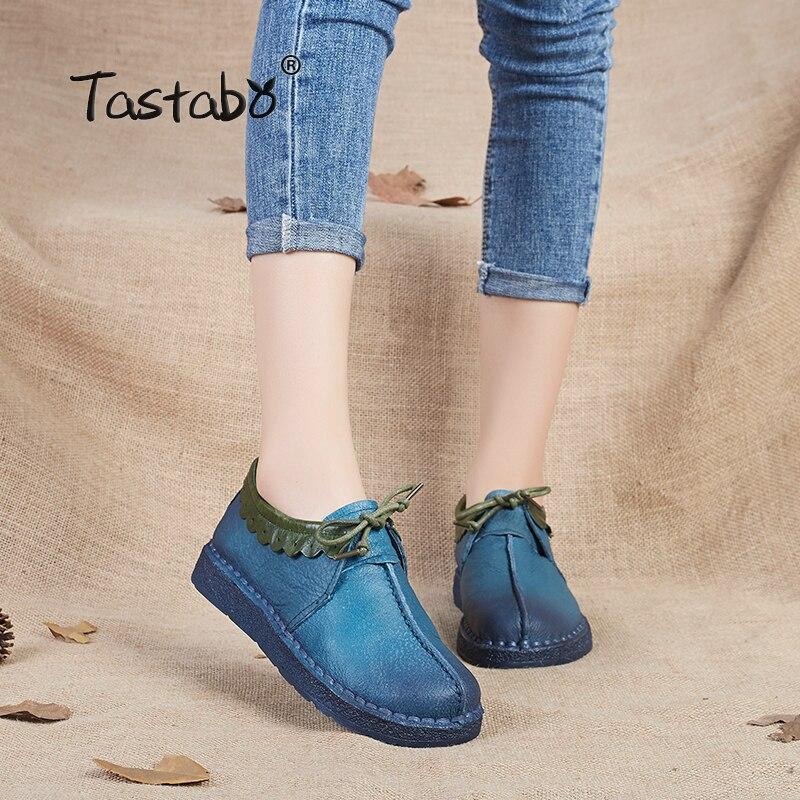 Barato Tastabo Moda Mocasines Zapatos de Las Mujeres Zapatos de Cuero  Genuinos Hechos A Mano Suave Cómodo Mujer Zapatos Planos Zapatos Casuales  Las Mujeres ... 1f4b83d15902