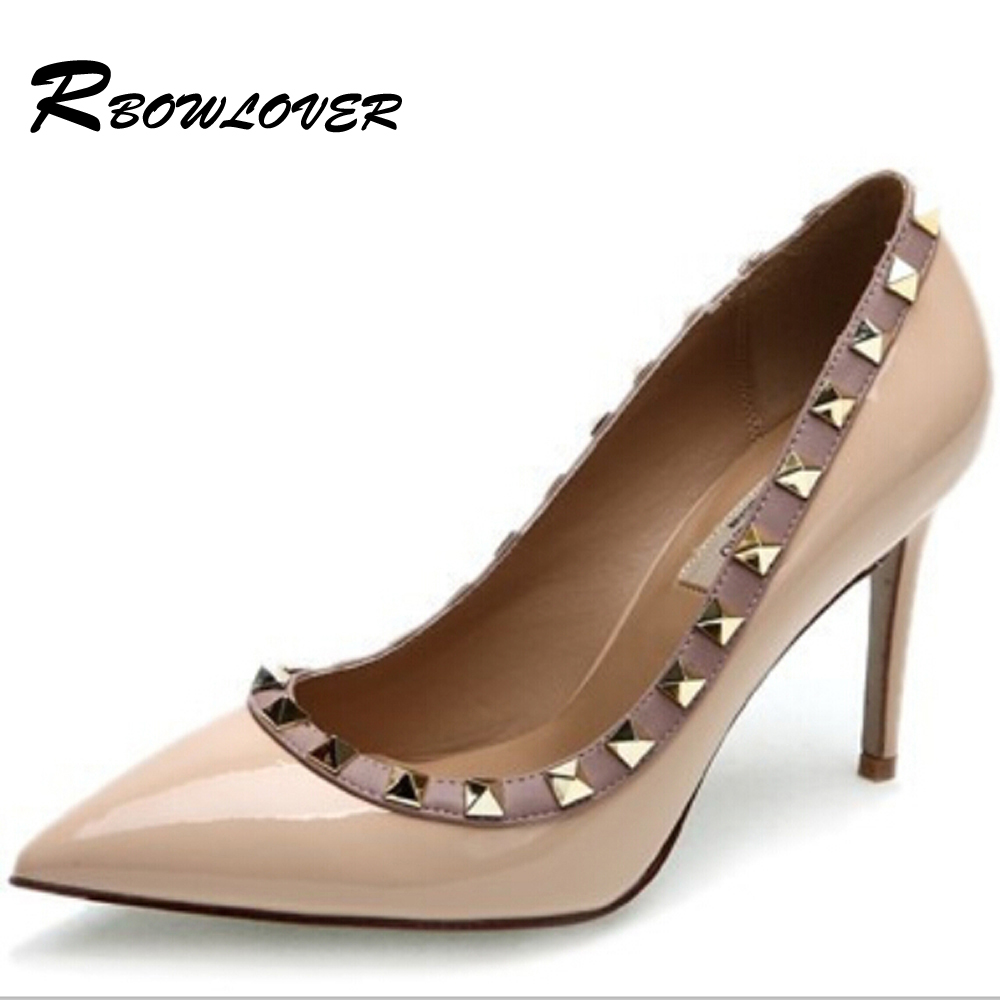 RBOWLOVER 2018 Womens Pumps Patent Leather Rivets Pointed Toe Shoes Thin High Heels Party Wedding Pumps Big size 33-43 summer bling thin heels pumps pointed toe fashion sexy high heels boots 2016 new big size 41 42 43 pumps 20161217