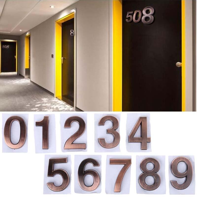 Modern Height 35mm/50mm/70mm Modern Bronze Plaque Number House Hotel Door Address Digits Sticker Plate Sign 0-9 Drop Ship custom modern house address number sign plaque
