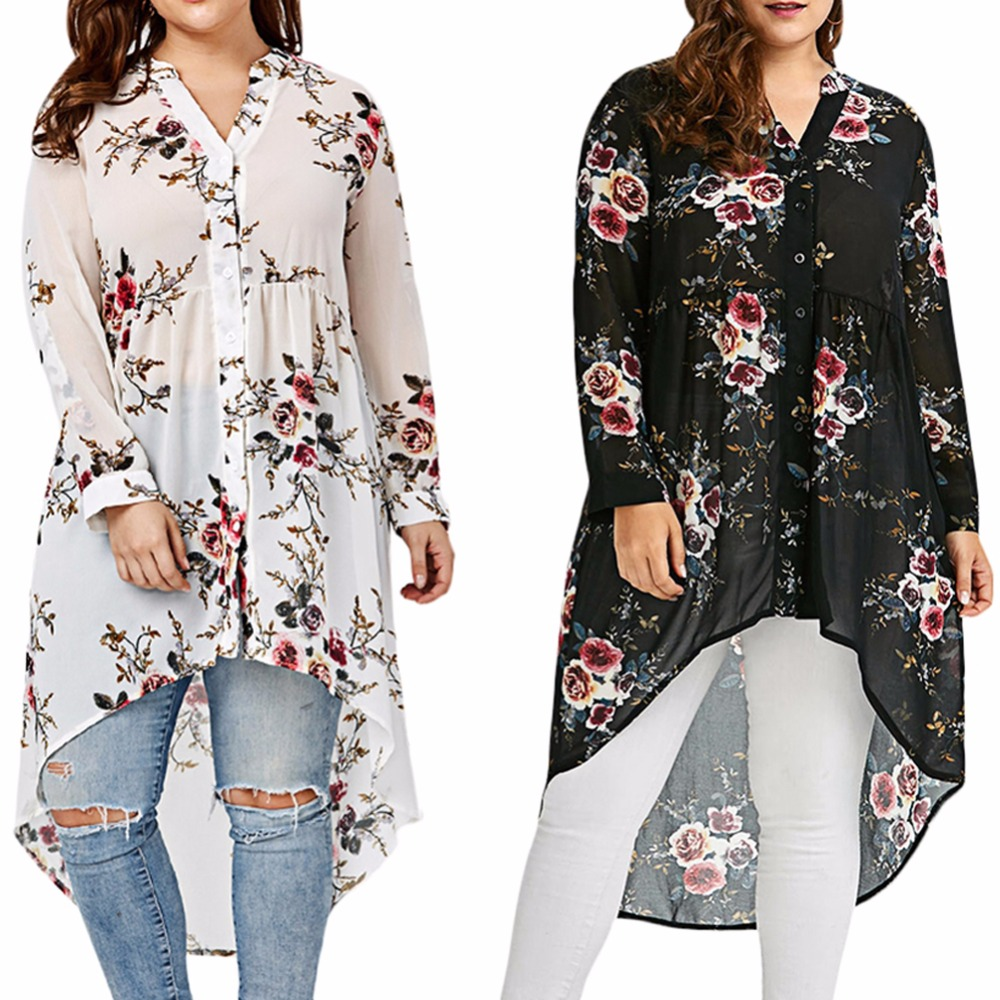 2018 Plus Size Women's Floral Print Blouse stand collar Long Sleeved irregular loose type Shirt single-breasted top Sep13
