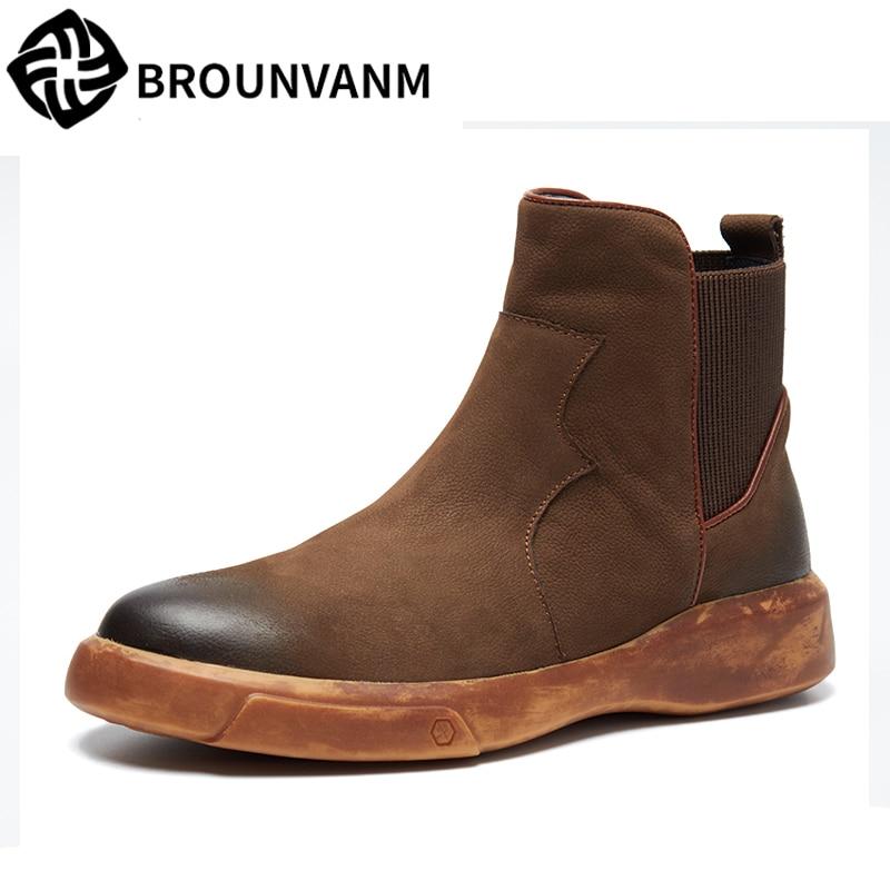 big size Chelsea boots mens Genuine Leather Martin boots men high-top shoes plus velvet cotton snow boots steel toe shoes winter