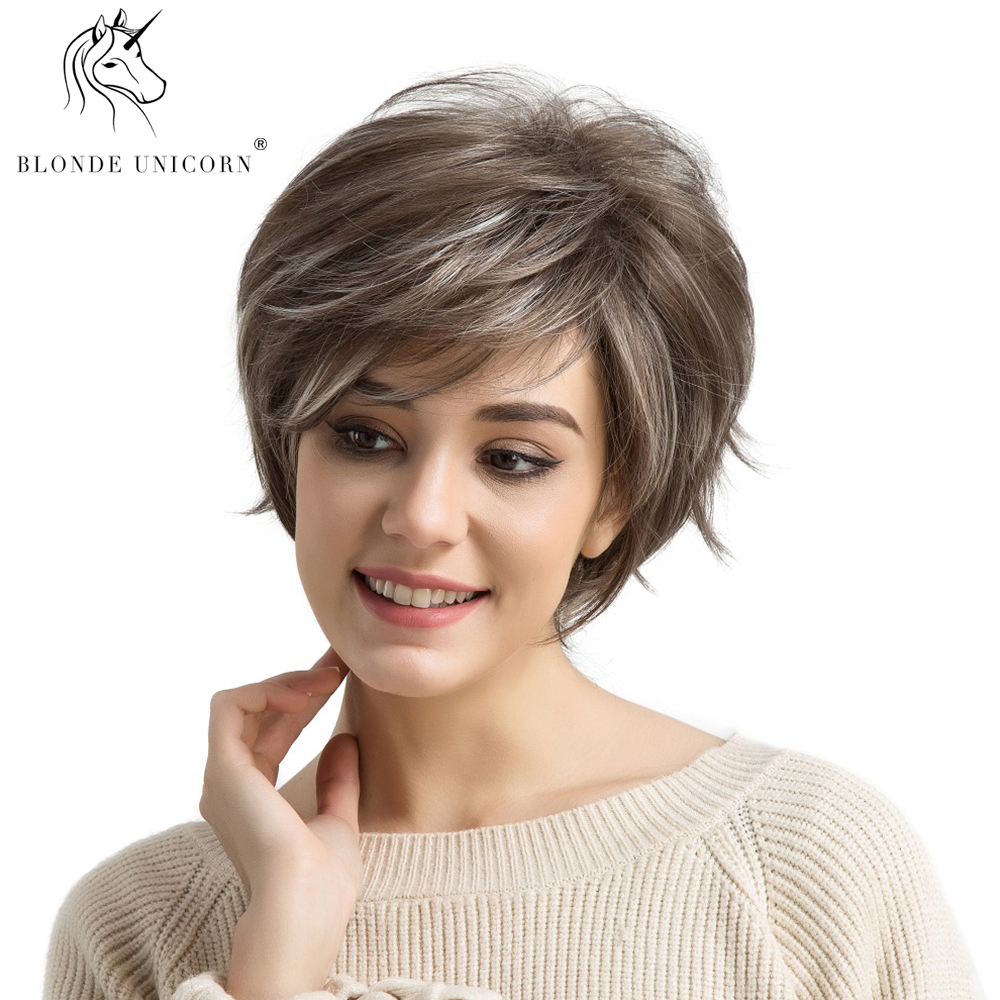 BLONDE UNICORN Synthetic Short Straight Hair Women Wigs with Side Bangs Light Brown with Highlights Full Wig for White Women