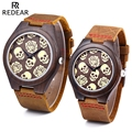 REDEAR Couple Quartz Watch Imported Movt Skull Pattern Water Resistance Wooden Case Wristwatch
