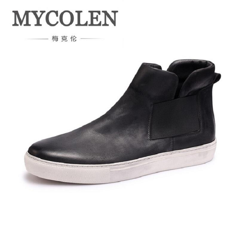 MYCOLEN Brand Vintage Retro Winter Men Shoes Handmade Mens Boots Black Leather Chelsea Boot For Party Wedding botas masculinas brand vintage retro 100