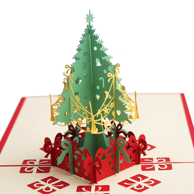 Laser Cut 3d Christmas Tree Pop Up Card Xmas Decoration