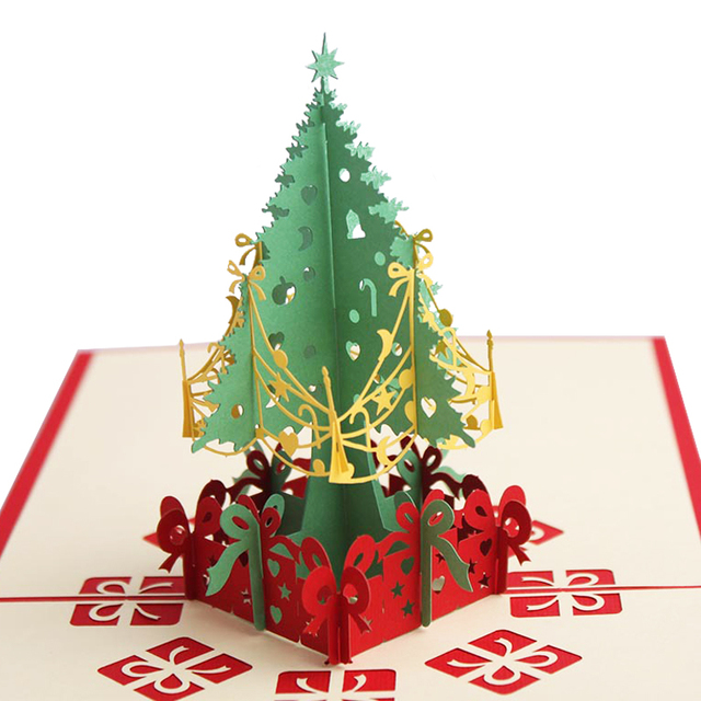 Laser Cut 3d Christmas Tree Pop Up Card Xmas Decoration Gift Paper