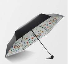 цены на Anti-thunder fiberglass windproof 5 times black coating anti-UV parasol pocket mini capsure digital 3D flowers print umbrella  в интернет-магазинах