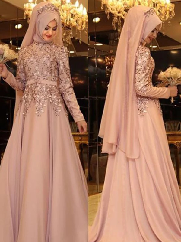 New Elegant Muslim   Evening     Dresses   2019 High Neck Long Sleeves Floor Length Beaded Chiffon Prom   Dresses   Formal Gowns Vestidos
