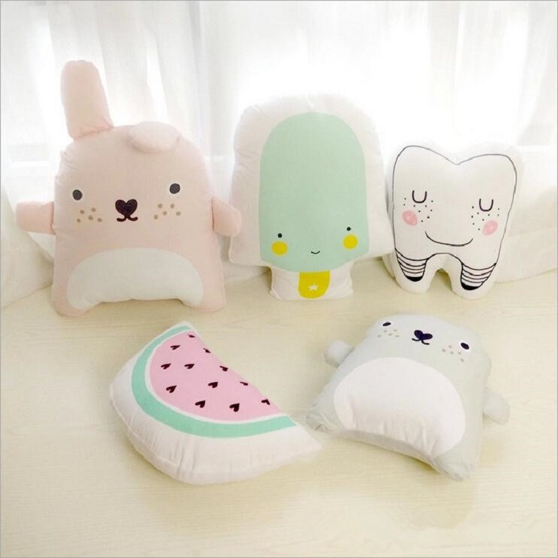 Cartoon Totoro Tooth Watermelon Ice Cream Cushion Pillow Baby Calm Sleep Toys Stuffed Plush Dolls Nordic Kids Bed Room Decor new arrival handmade lovely cartoon animals plush dolls stuffed cushion pillow toys gifts nordic kids room bed decor photo props