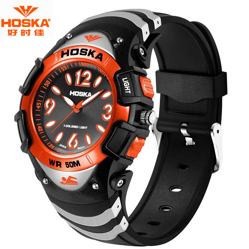 Children Brand Watch HOSKA Casual Complete Calendar Datejust Stop Watch Ofertas Rubber Bracelet Digital Wristwatches Kids H804