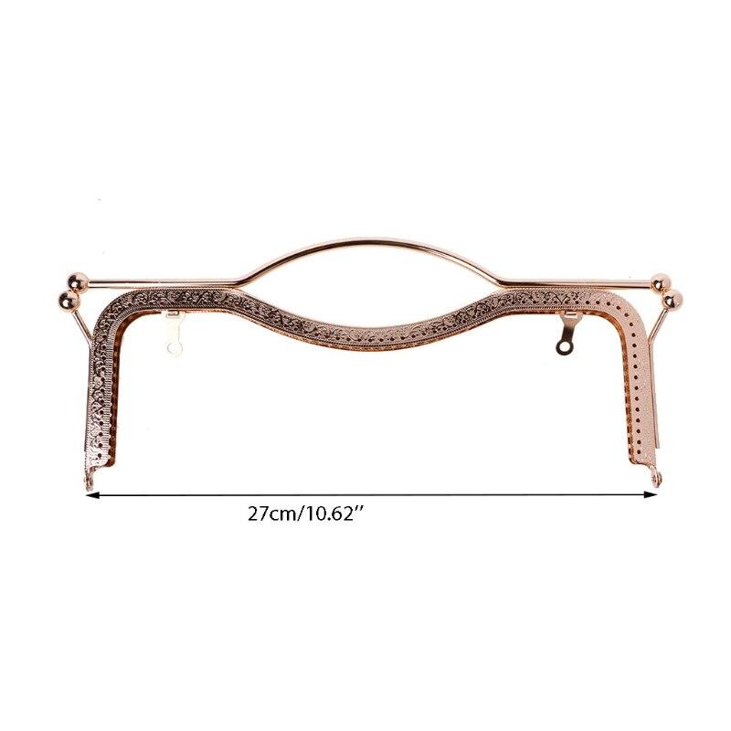 THINKTHENDO 1pc Coin Purse Bag Kiss Clasp Lock Metal Arch Frame Hand DIY Craft 27cm Bag Parts Accessories