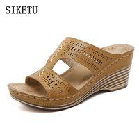 SIKETU Women Fashion High Heel Slippers Woman Summer Wedges Beach Shoes Women S Casual Flip Flops