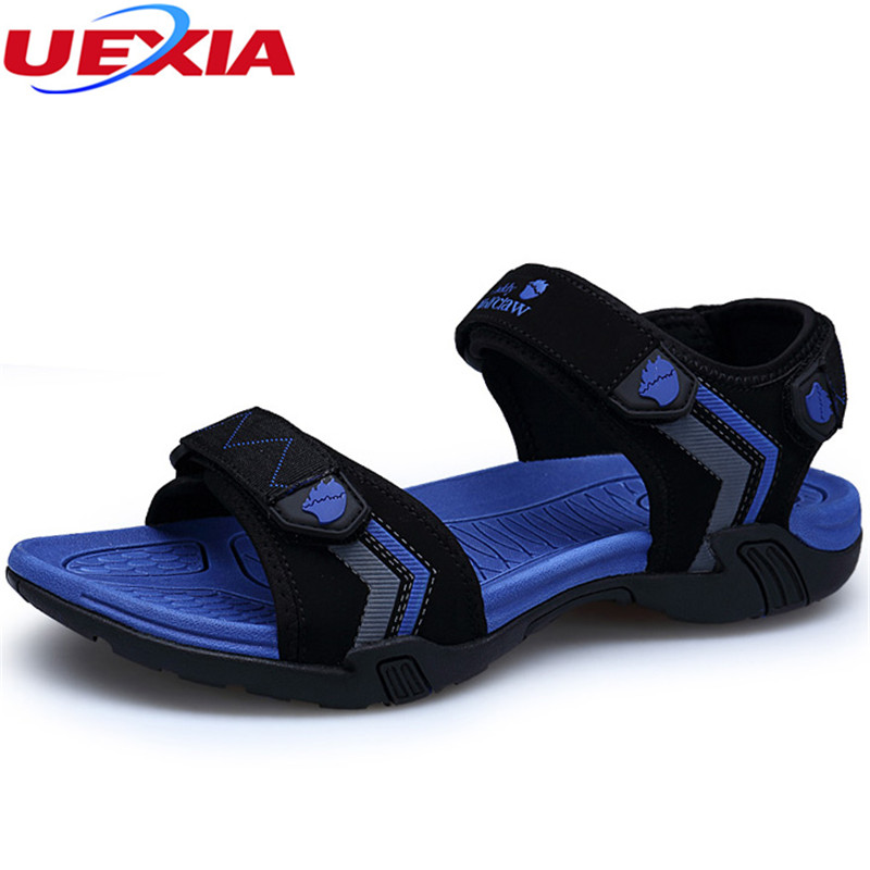 UEXIA Mens summer leather Rome sandals British all-match cowhide Sneakers Men Slippers Flip Flops casual Shoes beach outdoor