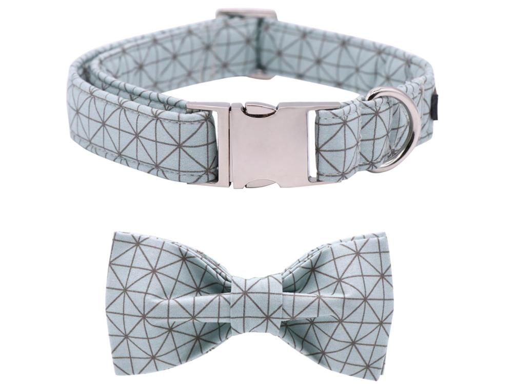 Summer Blue Dog Collar and Leash Set With Bow Tie Collar & Lead
