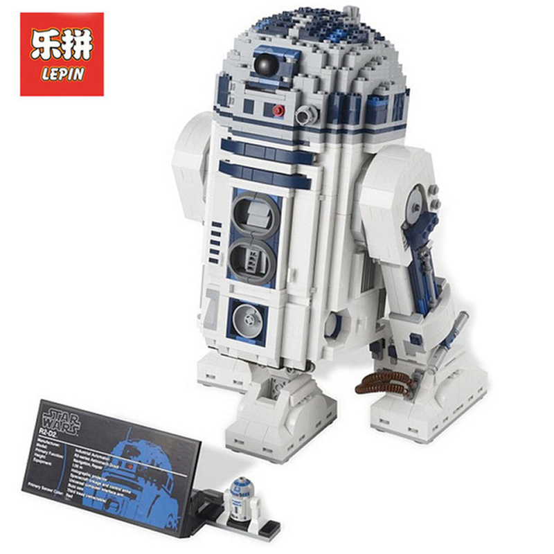 DHL Lepin Sets 05043 2127Pcs Star Wars Figures Robot R2-D2 Model Building Kits Blocks Bricks Toys For Children Compatible 10225 new 2127pcs lepin 05043 star war series r2 d2 the robot building blocks bricks model toys 10225 boys gifts