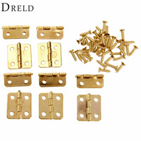 10Pcs Kitchen Cabinet Door Hinges Furniture Accessories 4 Holes Gold Drawer Hinges For Jewelry Boxes Furniture