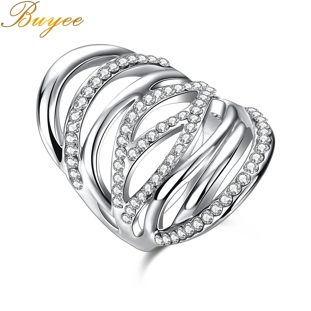 BUYEE Width Rings Female Temperament Rings Fashion Multiple Intersect Line with Zircon Rings Minimalist Jewellry