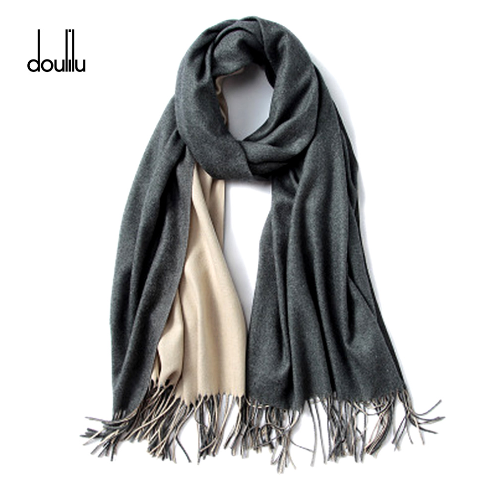 Winter Scarf Women Men Luxury 2018 Double Sided Splice Tartan Cashmere Winter Warm Square Plaid Wool Shawl In Women Scarves