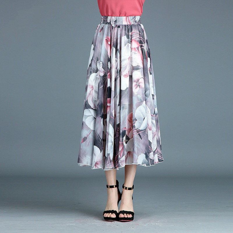 12 Colors The new summer Print Chiffon skirts Print Floral Red Rose folk style retro A all-match skirts Plus Size