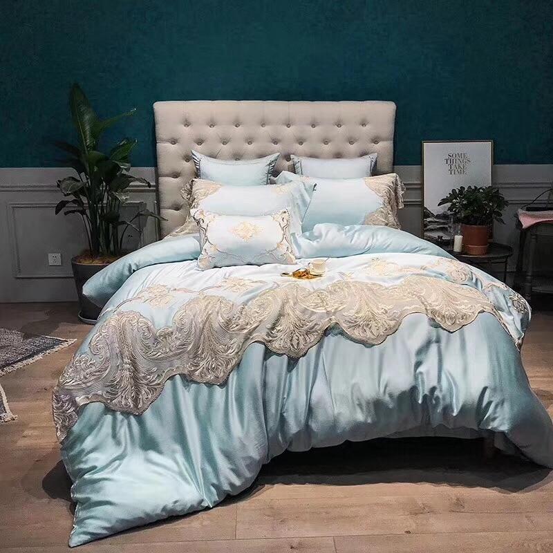 Light Blue Luxury Romantic Silver Lace Embroidery 100S Tencel Silk Princess Bedding Set Duvet Cover Bed sheet Pillowcases 4/7pcs