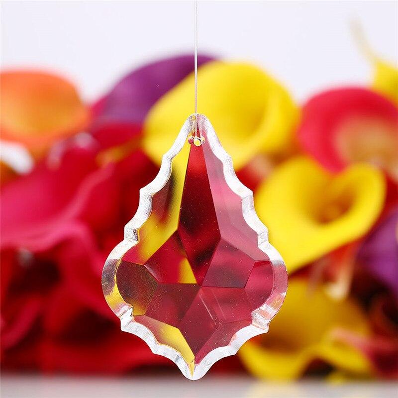 5PCS 48mm / 63mm Clear Maple Leaf Crystal Ball Prism Suncatcher Lamp Pendant Decor Crystal Lamp Accessories