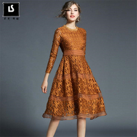 Spring Autumn Women Long Sleeves Beautiful Party Dress Elegant Noble Dress For Ladies Lace Stitching Hollow