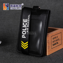 Air Marshal Police Lanyard Sling with Genuine Leather Case for Work ID Holder , Gift for Flight Crew