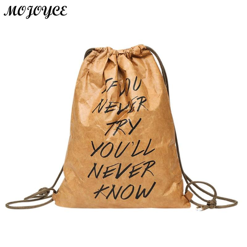 Women Waterproof Kraft Paper Drawstring Backpacks Letters Printed Shoulder Backpack Casual Simple Design Rucksack Mochila