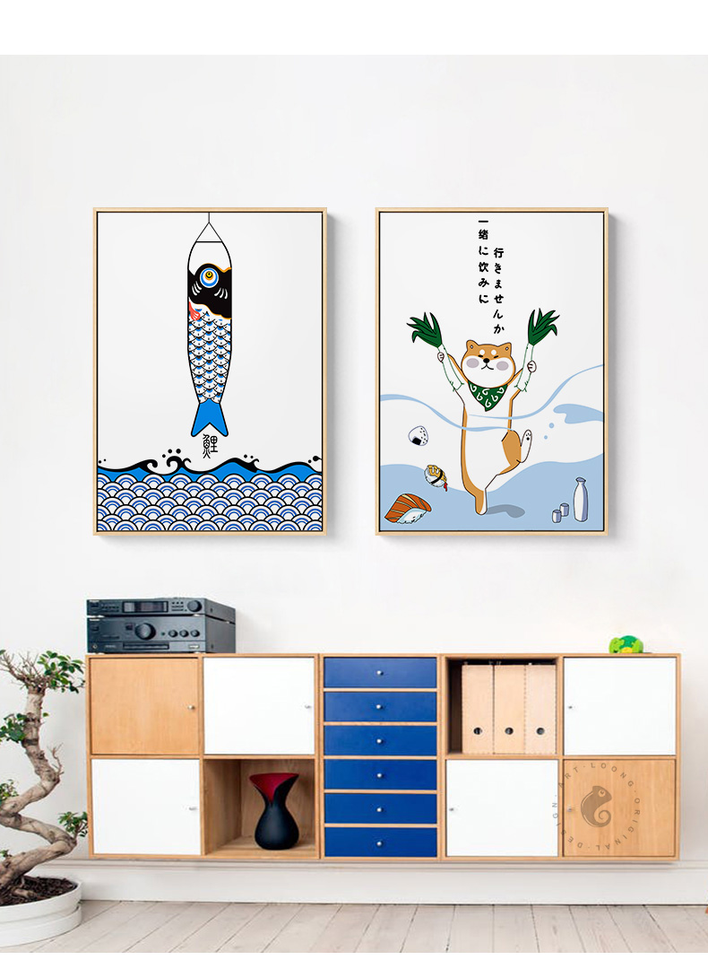 Japanese Creative Animal Fish Poster And Print Restaurant Decoration Painting Cute Wall Art Pictures For Dining Room Sushi Place Painting Calligraphy Aliexpress