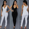2017 fashion summer women rompers deep v neck sexy club slim solid white button bodycon women clothing jumpsuits XD822
