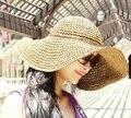 Мода оптовая широкими полями соломенной шляпе с бантом пляж hat cap sunhat летние путешествия аксессуары