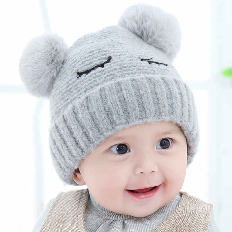 2016 Kid Baby Girl Boy Toddler Winter Warm Knitted Beanie Hat Caps Earmuffs Ball