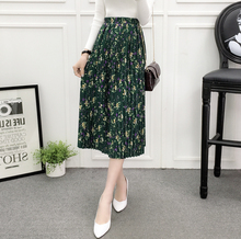 YICIYA Korean Style Office Vintage Women High Waist Elastic Dark Green Flower Print A-line Chiffon Pleated Midi Skirt