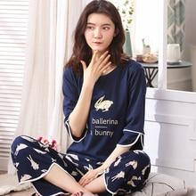 Mulher Linda Desgaste Roupas de Lazer Personalidade Primavera Verão Impressão Coelho Branco de Três Quartos Das Mulheres Pijamas Para Mulheres Pijamas Set