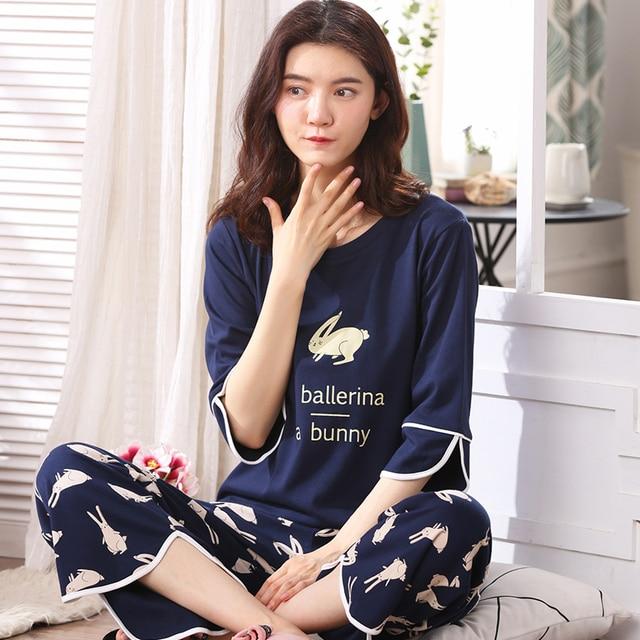 Woman Lovely Wear Leisure Clothes Personality Spring Summer White Rabbit Print Three Quarter Women Pajamas For Women Pyjamas Set