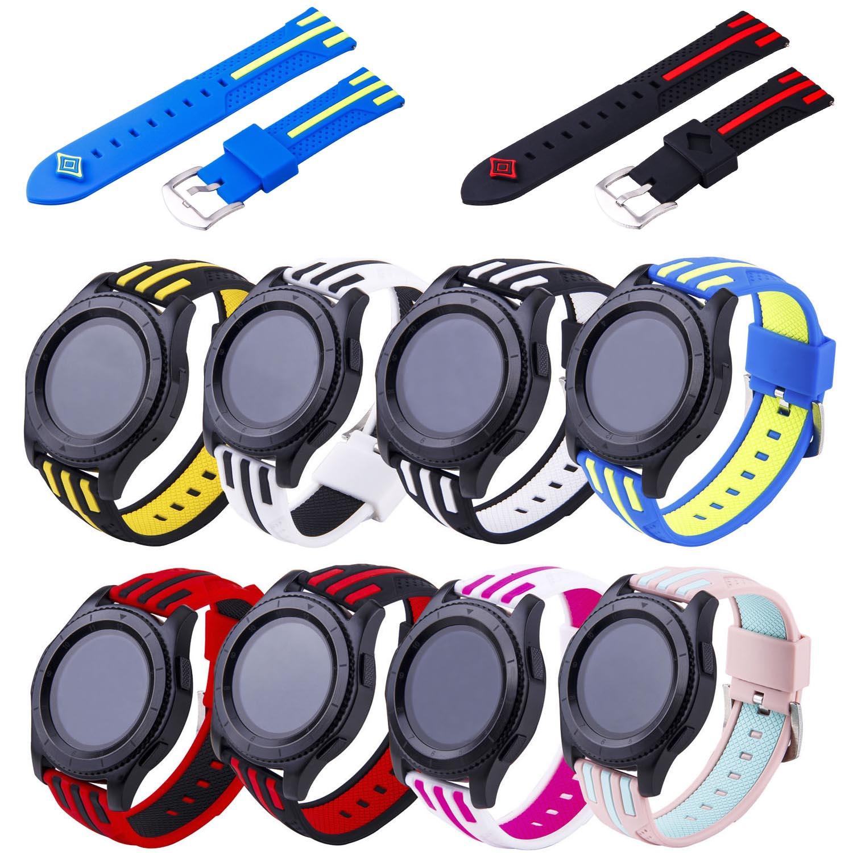 TW Rayé Sport Bande de Silicone pour Samsung Vitesse S3 Frontière Double couleurs En Caoutchouc Bracelet pour les Engins S3 Classique Montre Bracelet w Pins