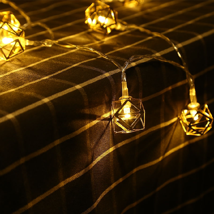 6M 40 LEDs Outdoor Mini Golden Geometric Polygon LED