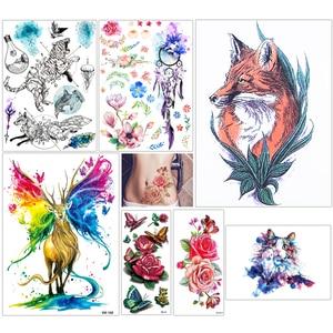 Image 2 - 100 штук, оптовая продажа, тату наклейки на тело с цветами, на руку, Классические рыбы, дракон, тотем, дизайнерские временные тату наклейки для женщин