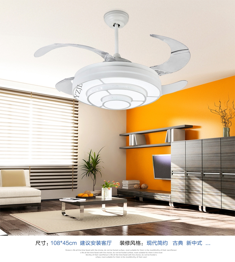 Simple Stealth Ceiling Fan Lights White Modern Pastoral Expansion Light Dining Room Fans LED Study Home