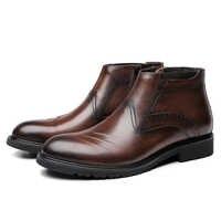 Moda czarny/Tan buty biurowe męskie buty do kostki buty z prawdziwej skóry mężczyzna na zewnątrz buty w stylu casual
