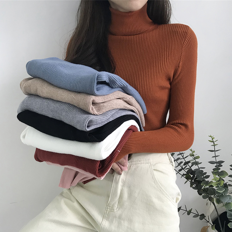 0aaff21fcf5 Turtleneck Women Sweater Autumn Winter Knitted Femme Pull Slim High  Elasticity Soft Female Pullovers Sweater White Black Gray ~ Super Sale May  2019