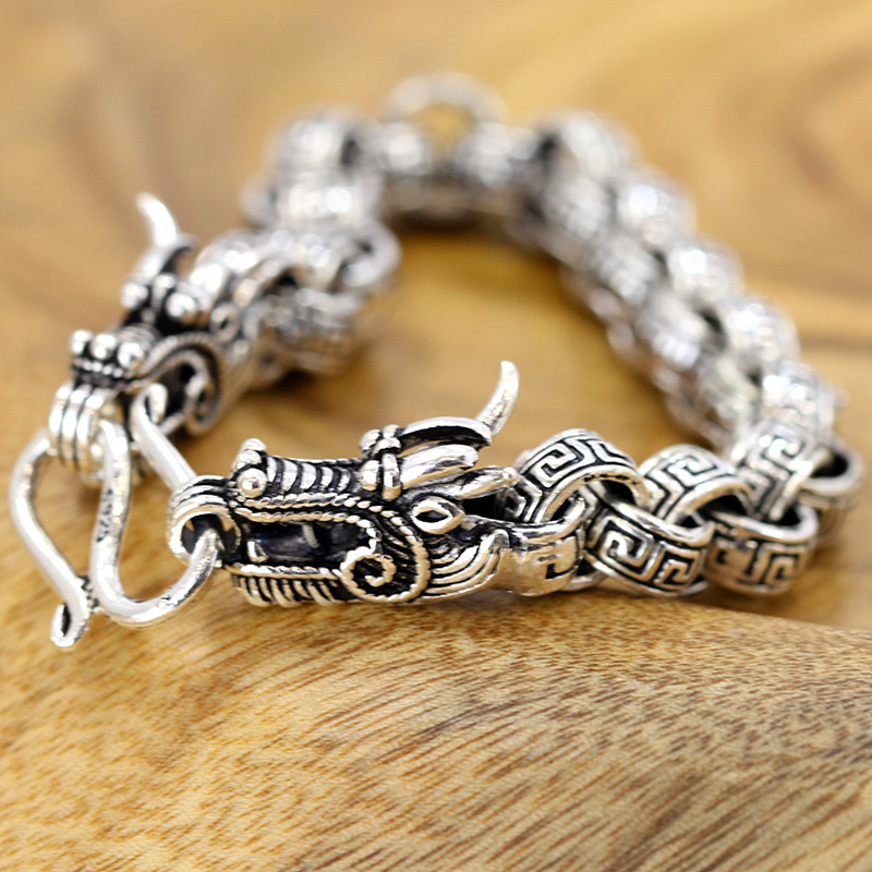 Фото New Limited Pure Silver Dragon Bracelet Band Fine Jewelry S925 Silver Chian Band Men Cool Chinses Dragon Hand Chain Bangle