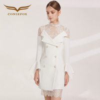 CONIEFOX 60393 летние модные белые кружевные платья для выпускного вечера Вечерние вечернее платье короткие платья