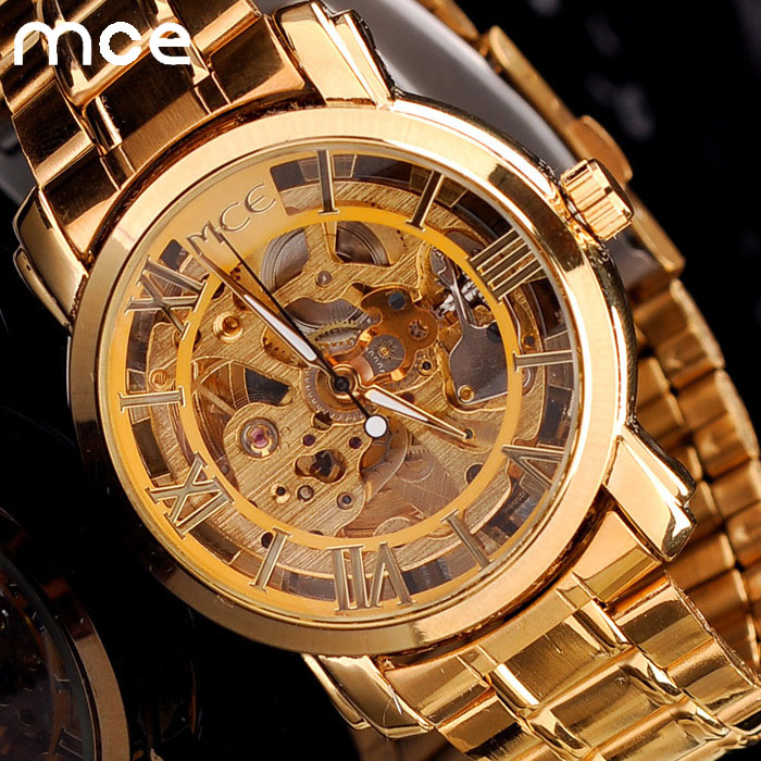 все цены на Wrist watch Brand MCE unisex golden Steel Luxury men's watch VOGUE AUTOMATIC Watch Gold Skeleton Mechanical watch original box онлайн