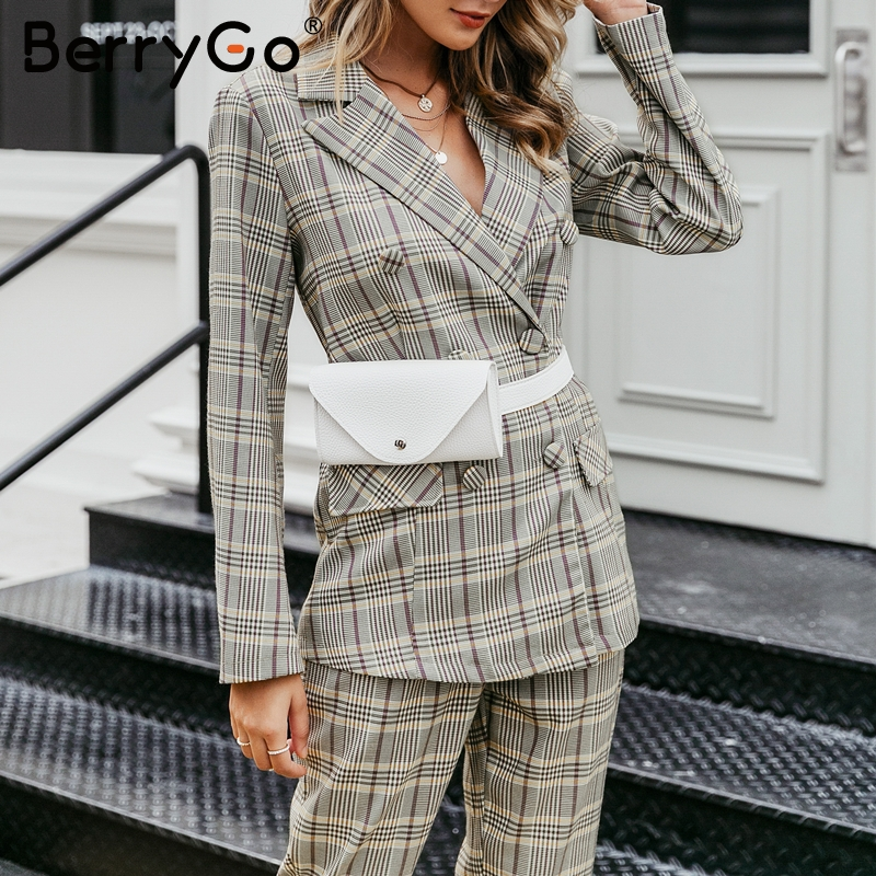 BerryGo Plaid Double Breasted Women Blazer Long Sleeve Buttons Office Ladies Blazers Coat Casual Streetwear Female Blazer Jacket