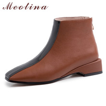 Meotina Autumn Ankle Boots Women Natural Genuine Leather Zip Thick Heels Short Boots Mixed Colors Square Toe Shoes Lady Size 40 цена 2017