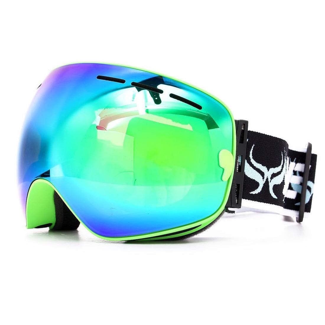 BENICE ski goggles double layer anti-fog eyes green frame