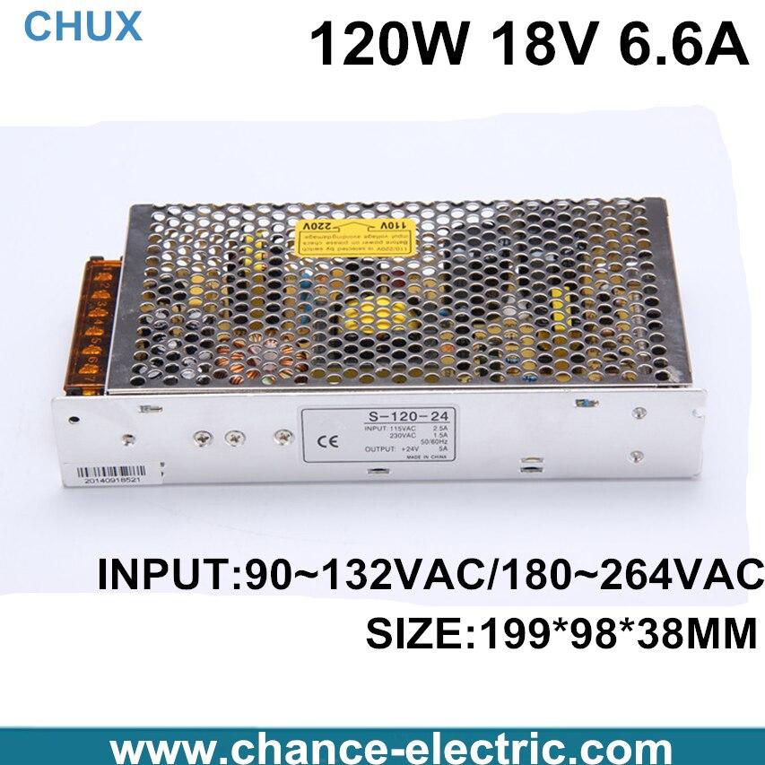 DC 18V 6.6A Switch power supply 120W LED power adapter for LED light  (s-120w-18v)  Free shipping 4pcs 12v 1a cctv system power dc switch power supply adapter for cctv system