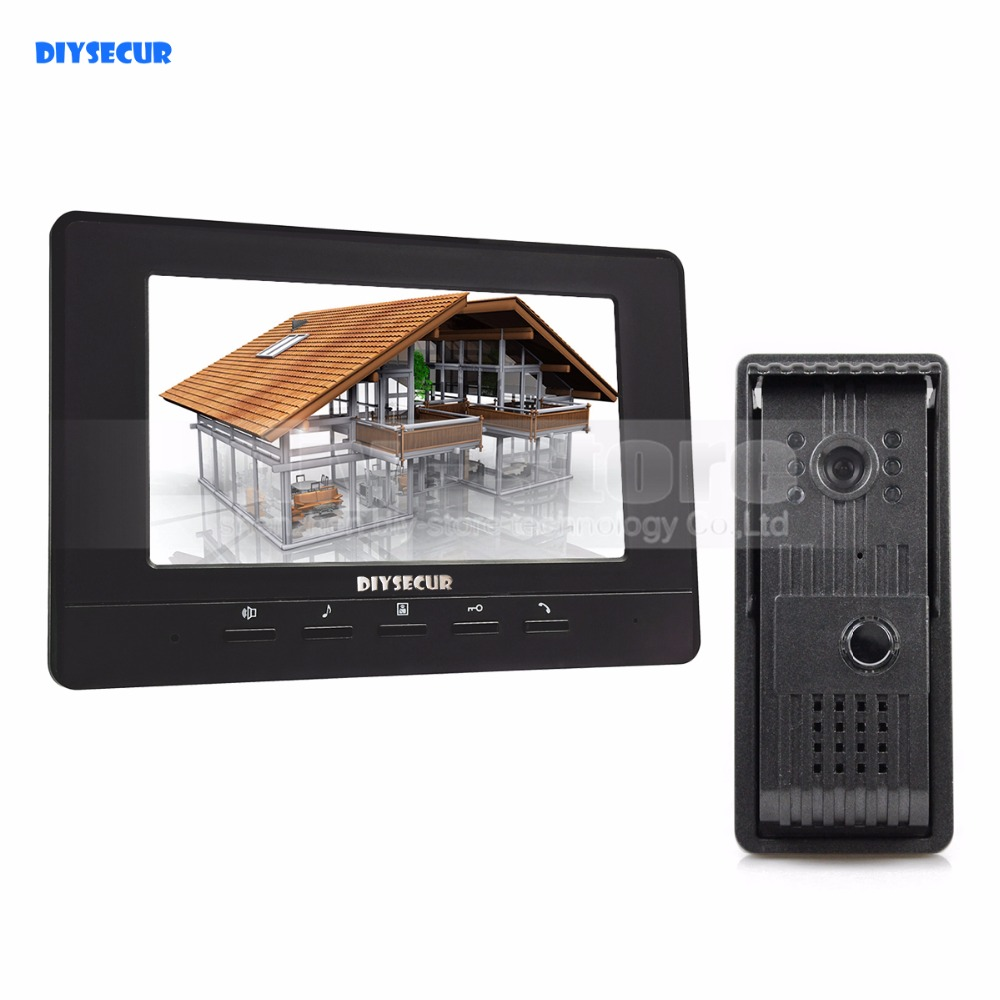 DIYSECUR 7inch Video Door Phone Doorbell Video Intercom Metal Shell Camera LED Night Vision 1 Monitor Black for Home / Office серьги с подвесками jv серебряные серьги с агатами ner316 bl gag wg