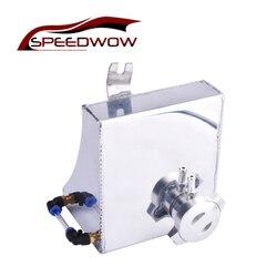 SPEEDWOW Sliver uniwersalny samochód Auto zbiornik do pobierania oleju aluminium wyścigi motocykli zbiornik może filtracji oleju zbiornik bez czujnika
